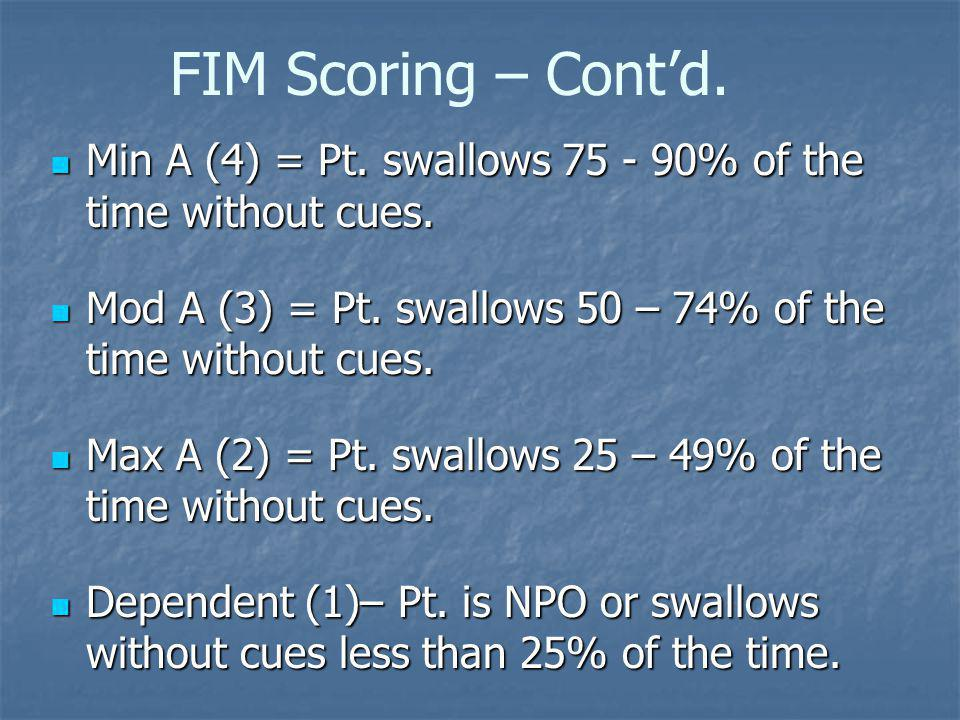 FIM Scoring – Cont'd. Min A (4) = Pt. swallows % of the time without cues. Mod A (3) = Pt. swallows 50 – 74% of the time without cues.