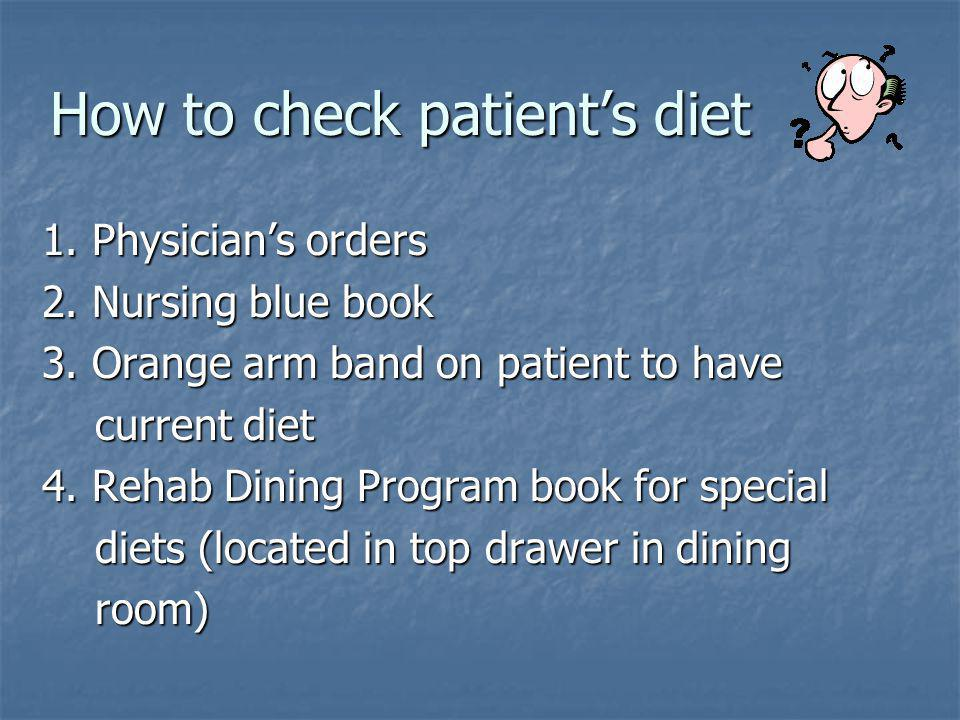 How to check patient's diet