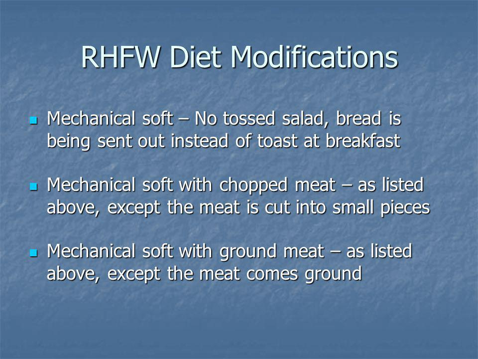 RHFW Diet Modifications