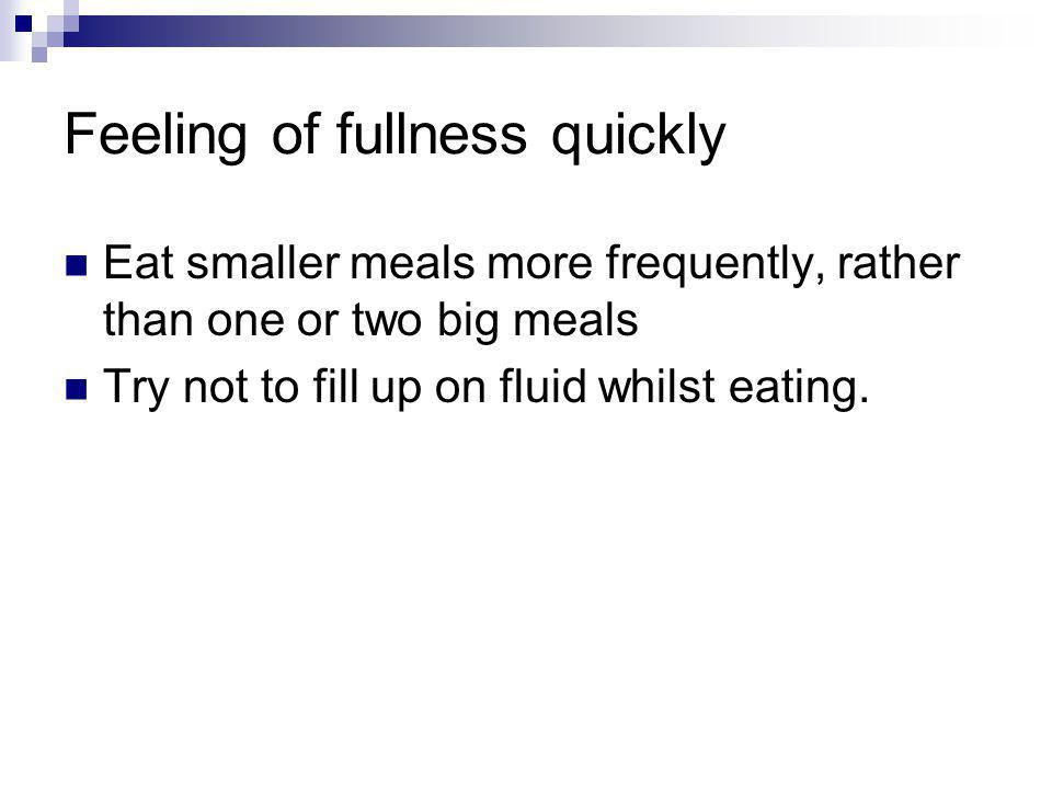 Feeling of fullness quickly