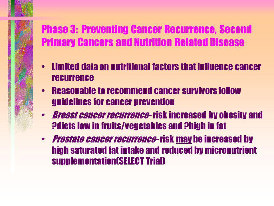 Phase 3: Preventing Cancer Recurrence, Second Primary Cancers and Nutrition Related Disease