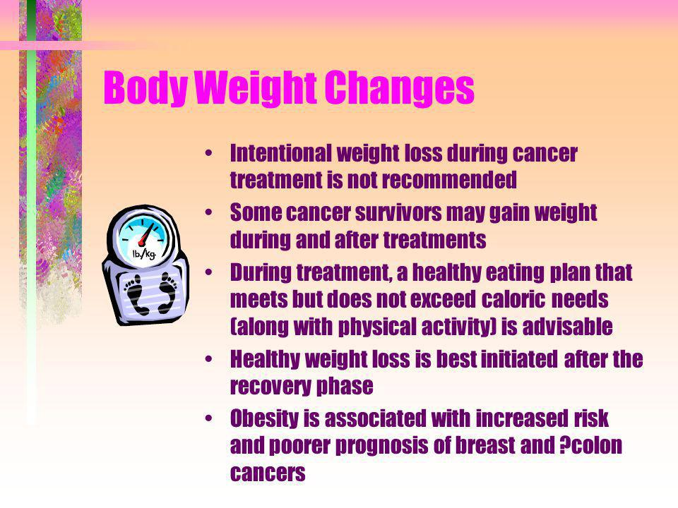 Body Weight Changes Intentional weight loss during cancer treatment is not recommended.