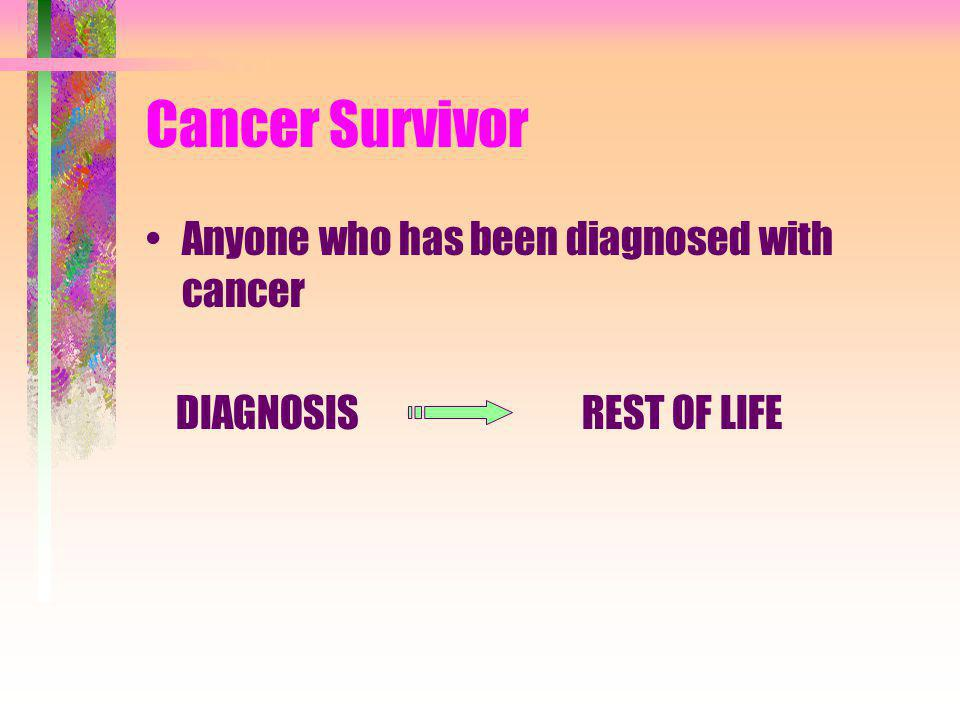 Cancer Survivor Anyone who has been diagnosed with cancer