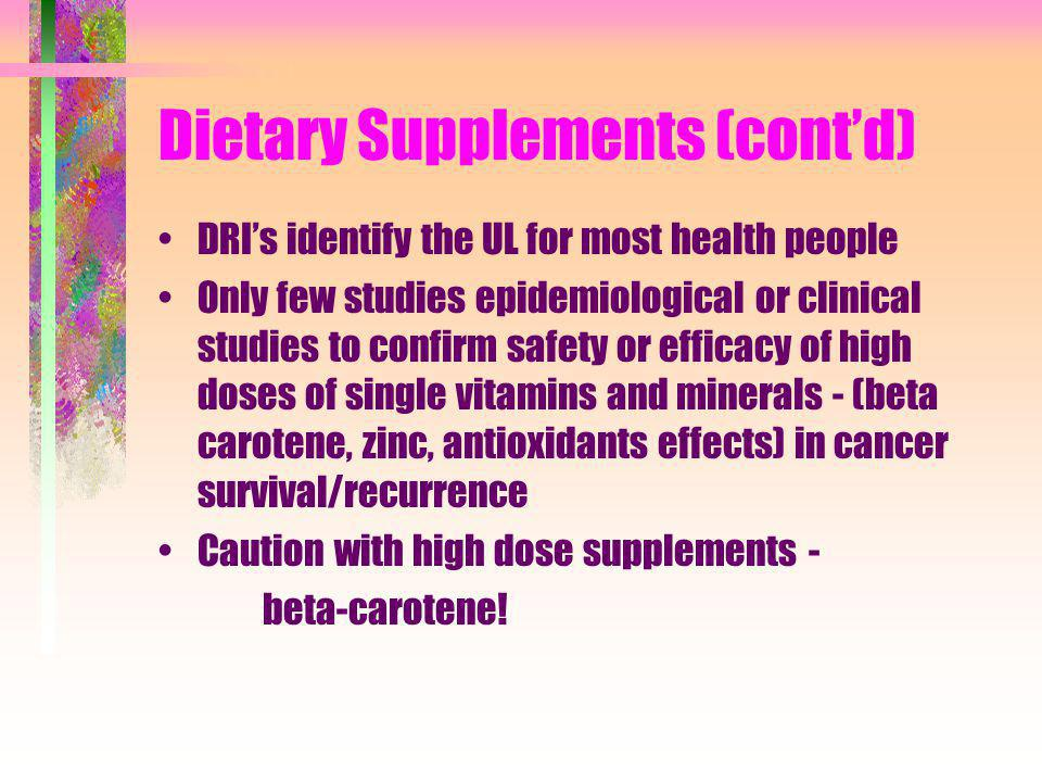 Dietary Supplements (cont'd)
