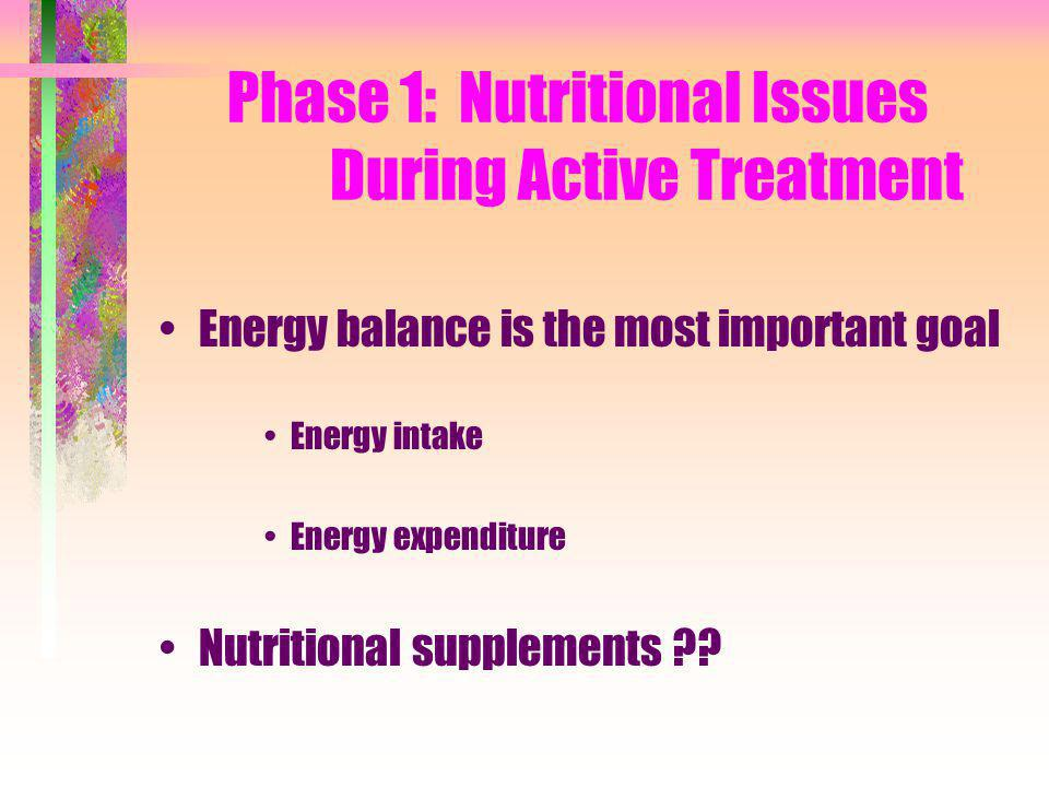 Phase 1: Nutritional Issues During Active Treatment