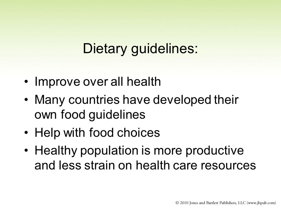 Dietary guidelines: Improve over all health