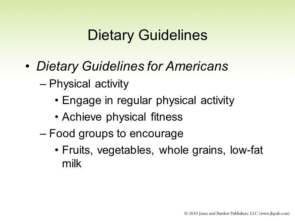 Dietary Guidelines Dietary Guidelines for Americans Physical activity