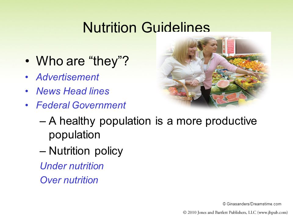 Nutrition Guidelines Who are they