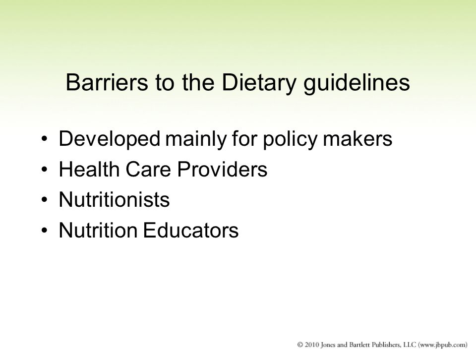 Barriers to the Dietary guidelines