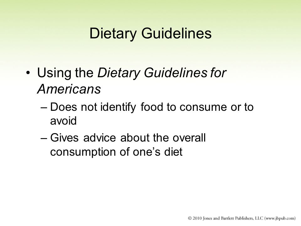 Dietary Guidelines Using the Dietary Guidelines for Americans