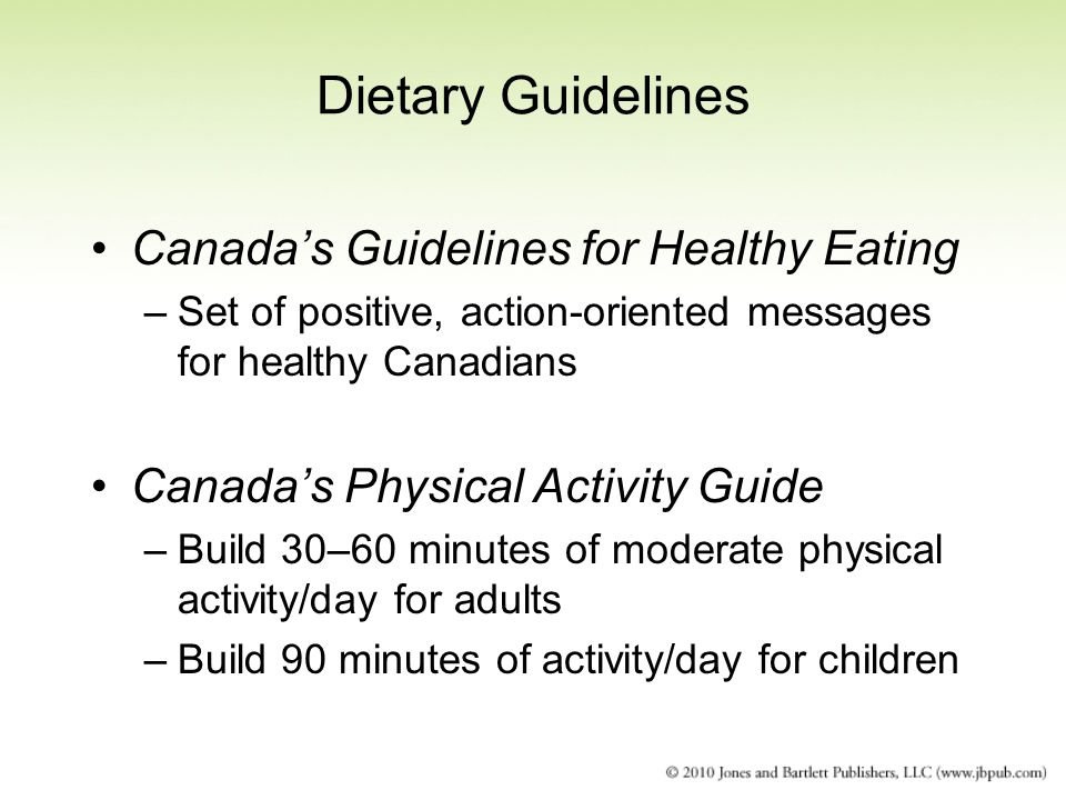 Dietary Guidelines Canada's Guidelines for Healthy Eating