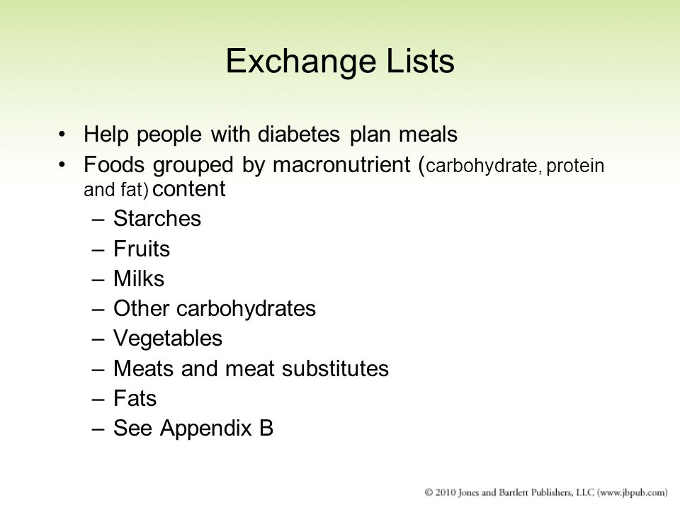 Exchange Lists Help people with diabetes plan meals