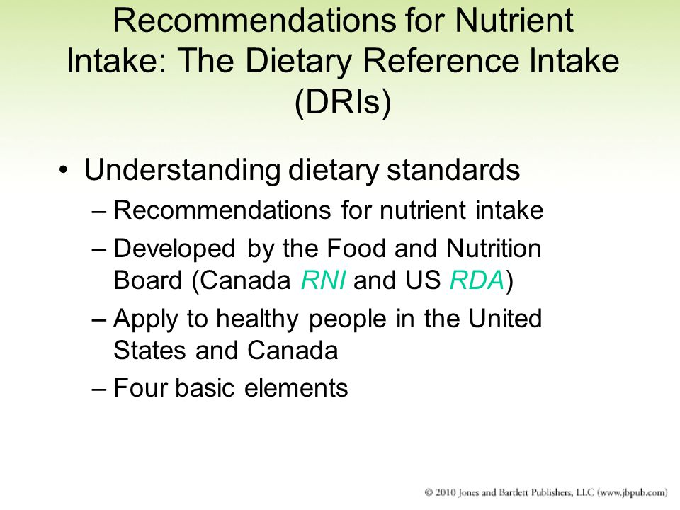 Recommendations for Nutrient Intake: The Dietary Reference Intake (DRIs)