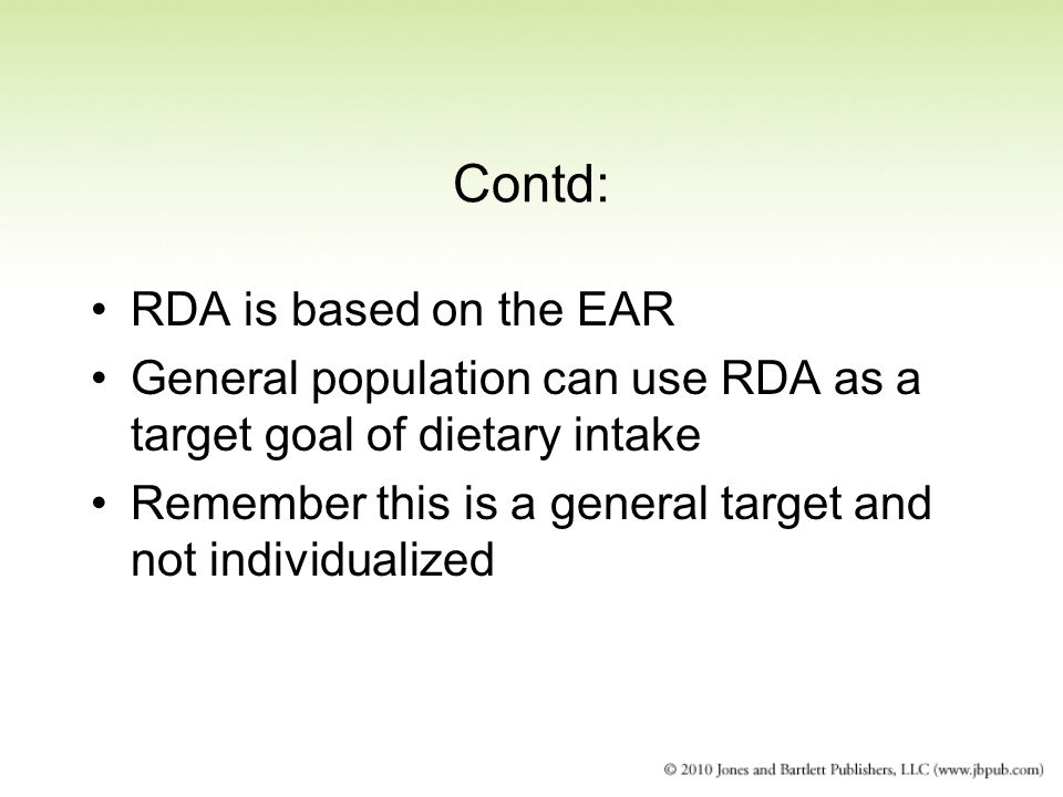 Contd: RDA is based on the EAR