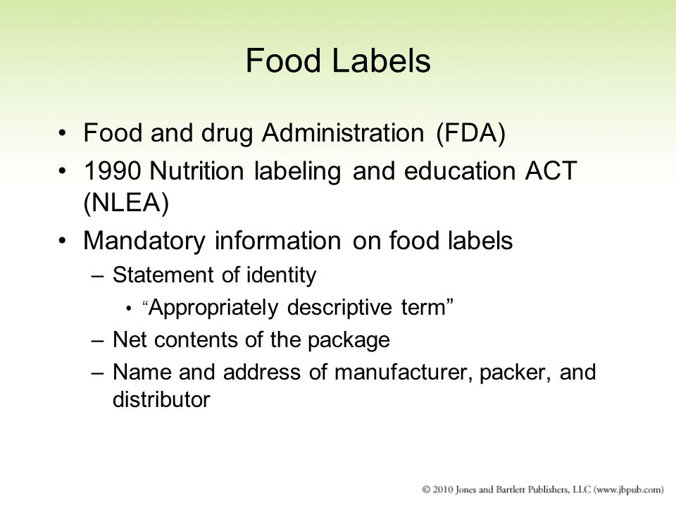 Food Labels Food and drug Administration (FDA)