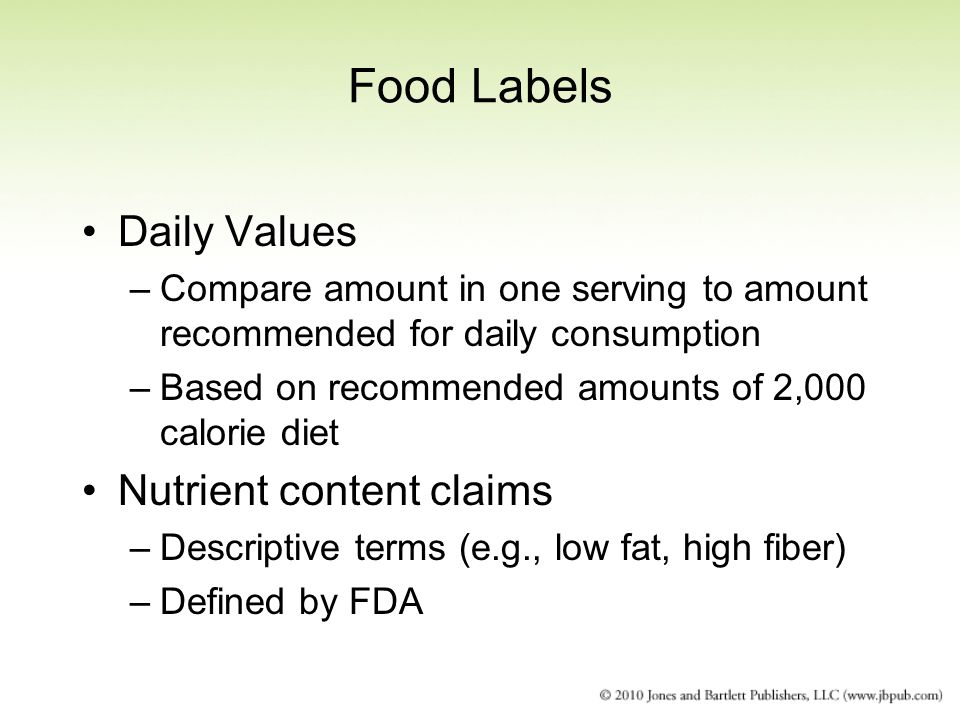 Food Labels Daily Values Nutrient content claims