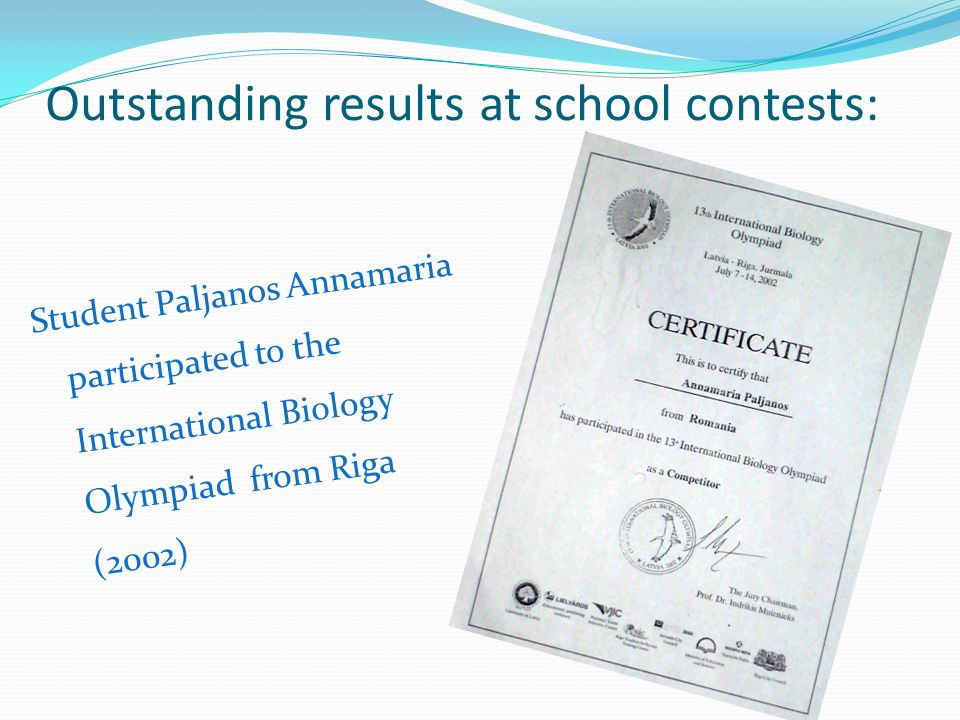 Outstanding results at school contests: