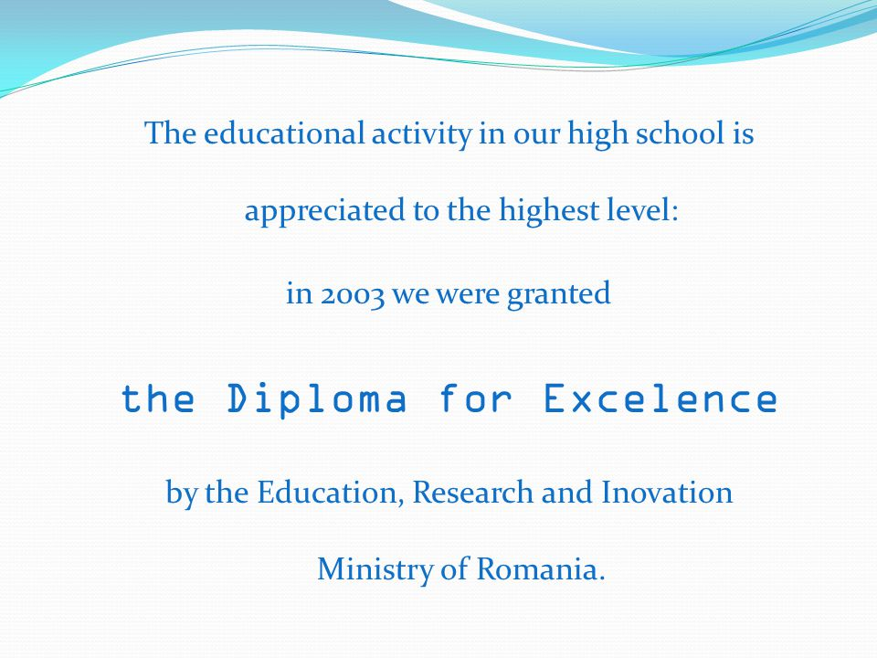 the Diploma for Excelence