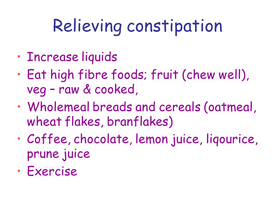 Relieving constipation