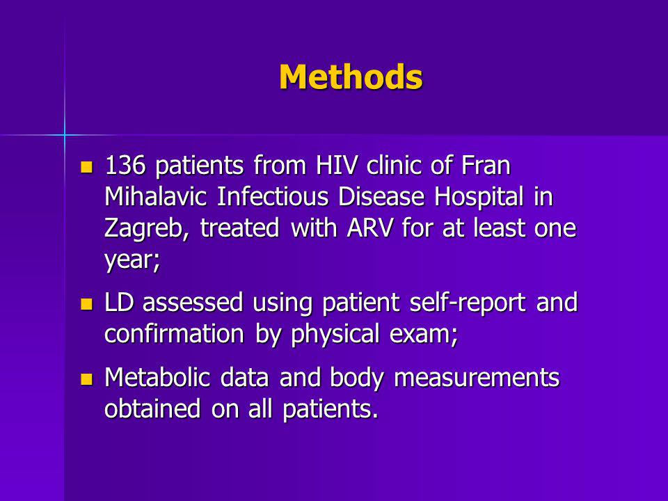 Methods 136 patients from HIV clinic of Fran Mihalavic Infectious Disease Hospital in Zagreb, treated with ARV for at least one year;