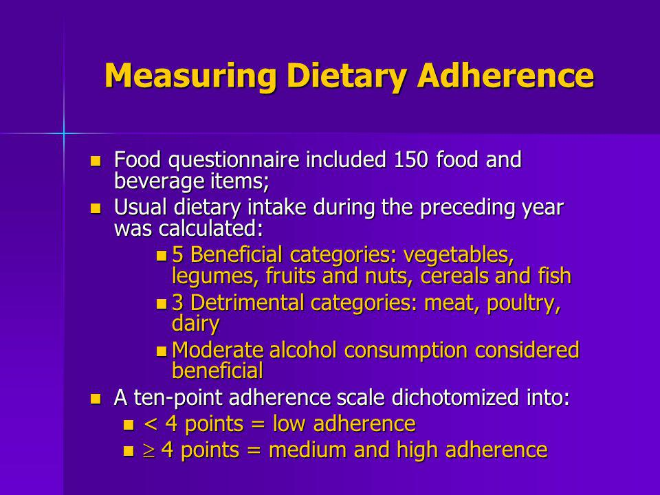 Measuring Dietary Adherence