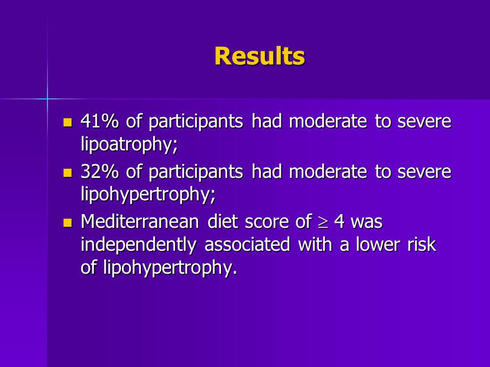 Results 41% of participants had moderate to severe lipoatrophy;