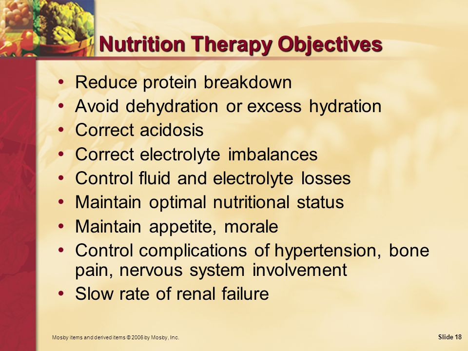 Nutrition Therapy Objectives