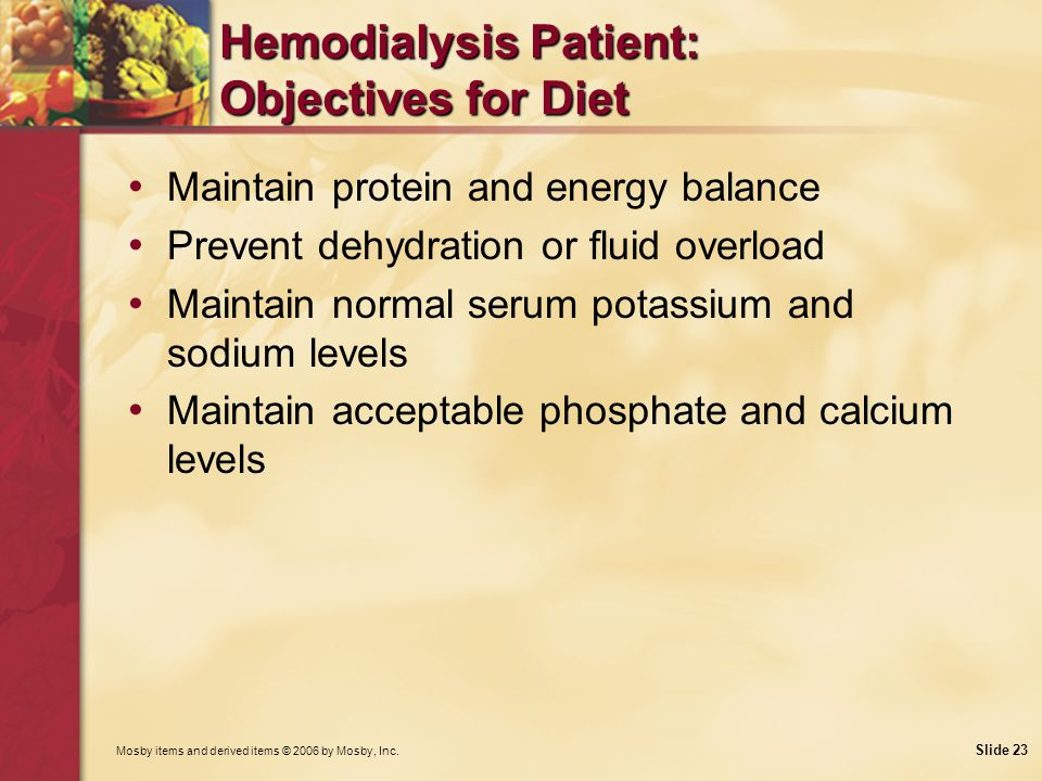 Hemodialysis Patient: Objectives for Diet