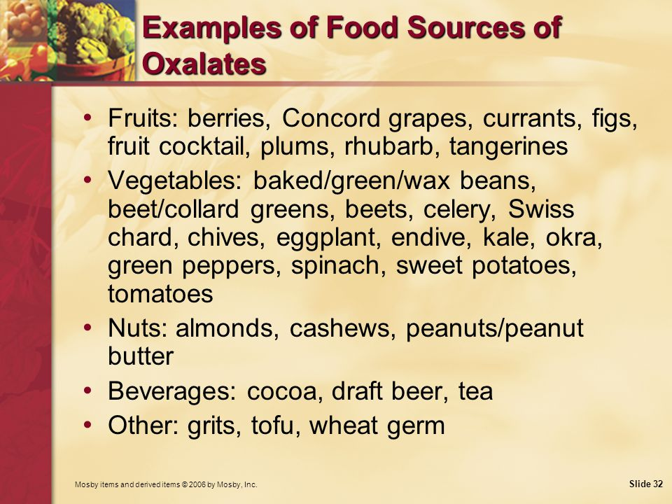 Examples of Food Sources of Oxalates