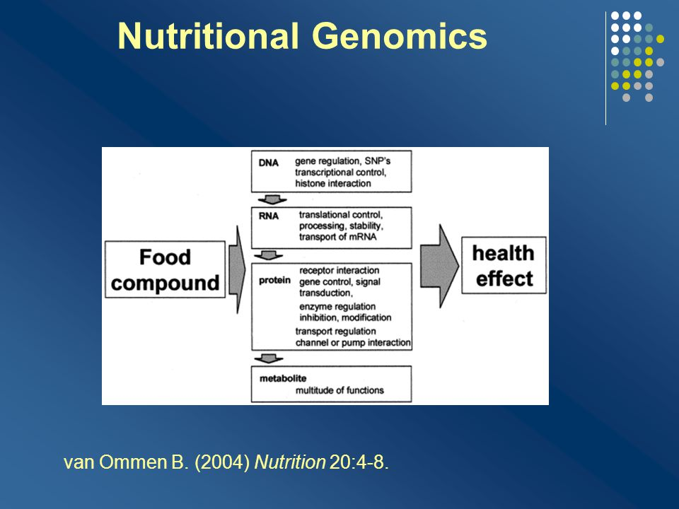 Nutritional Genomics van Ommen B. (2004) Nutrition 20:4-8.