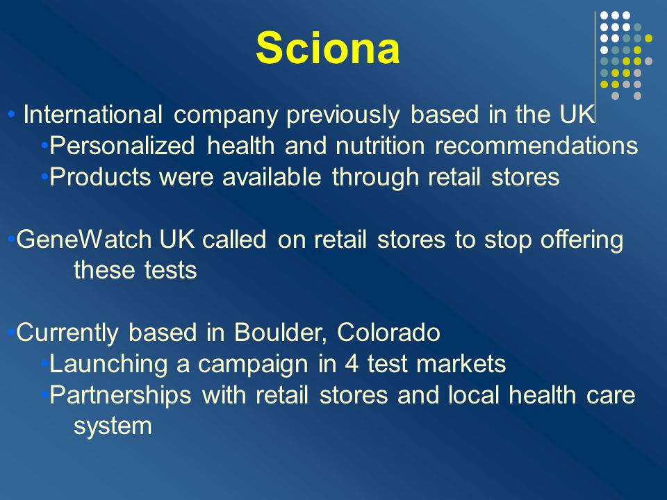 Sciona International company previously based in the UK