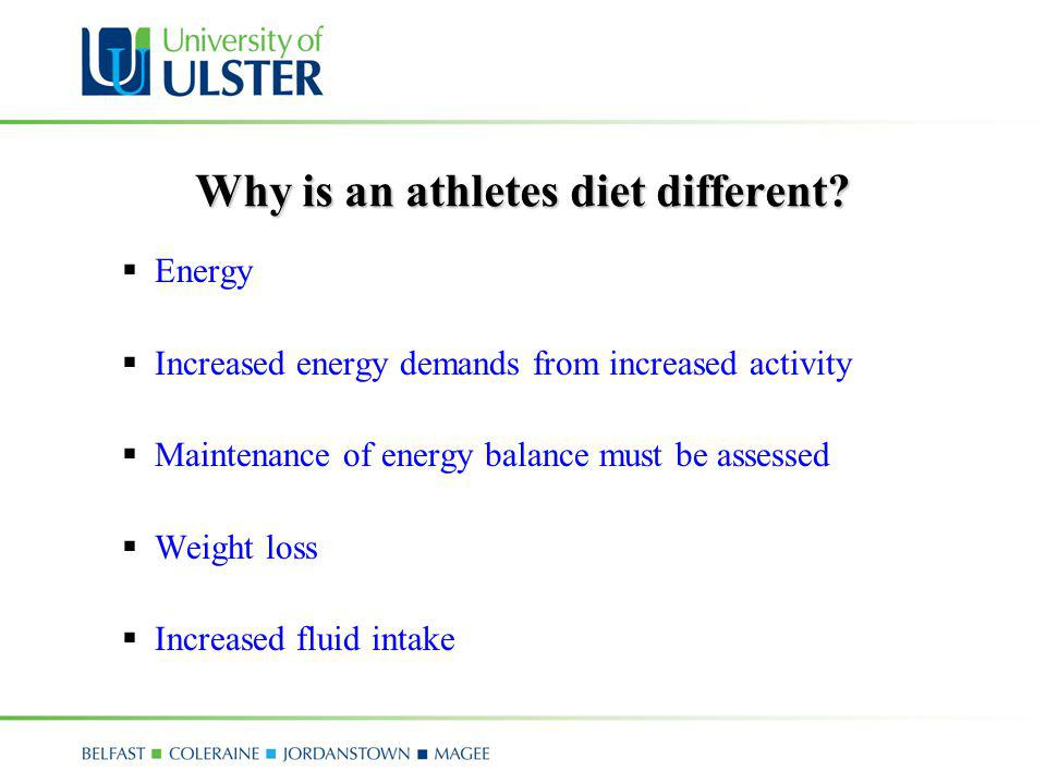 Why is an athletes diet different
