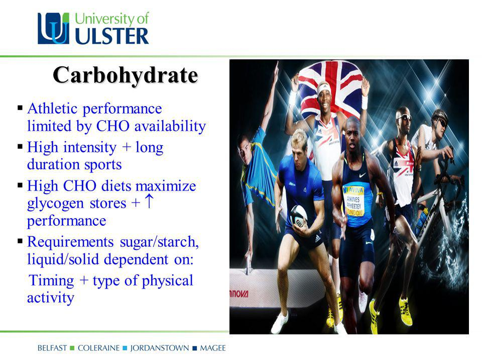 Carbohydrate Athletic performance limited by CHO availability