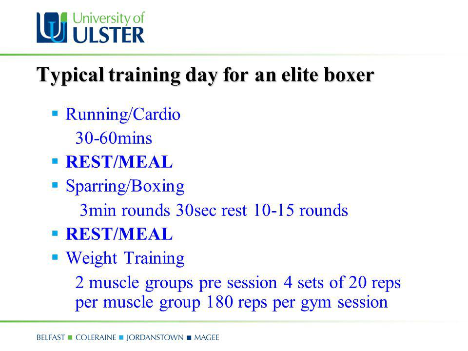 Typical training day for an elite boxer