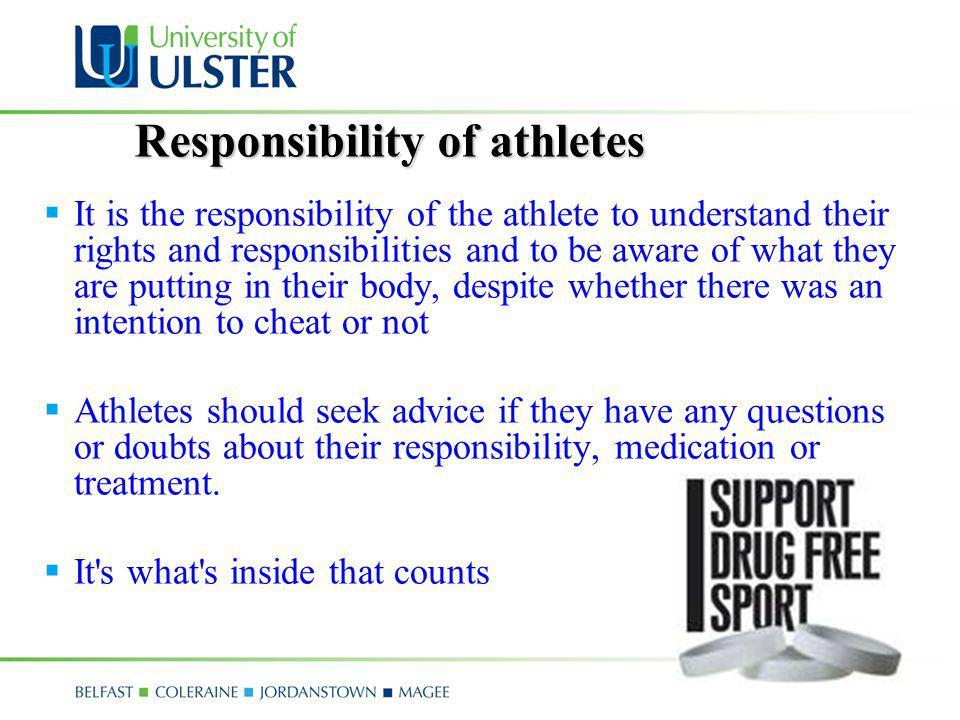 Responsibility of athletes