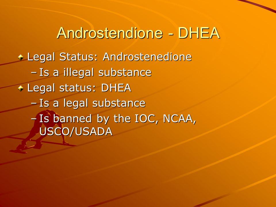 Androstendione - DHEA Legal Status: Androstenedione