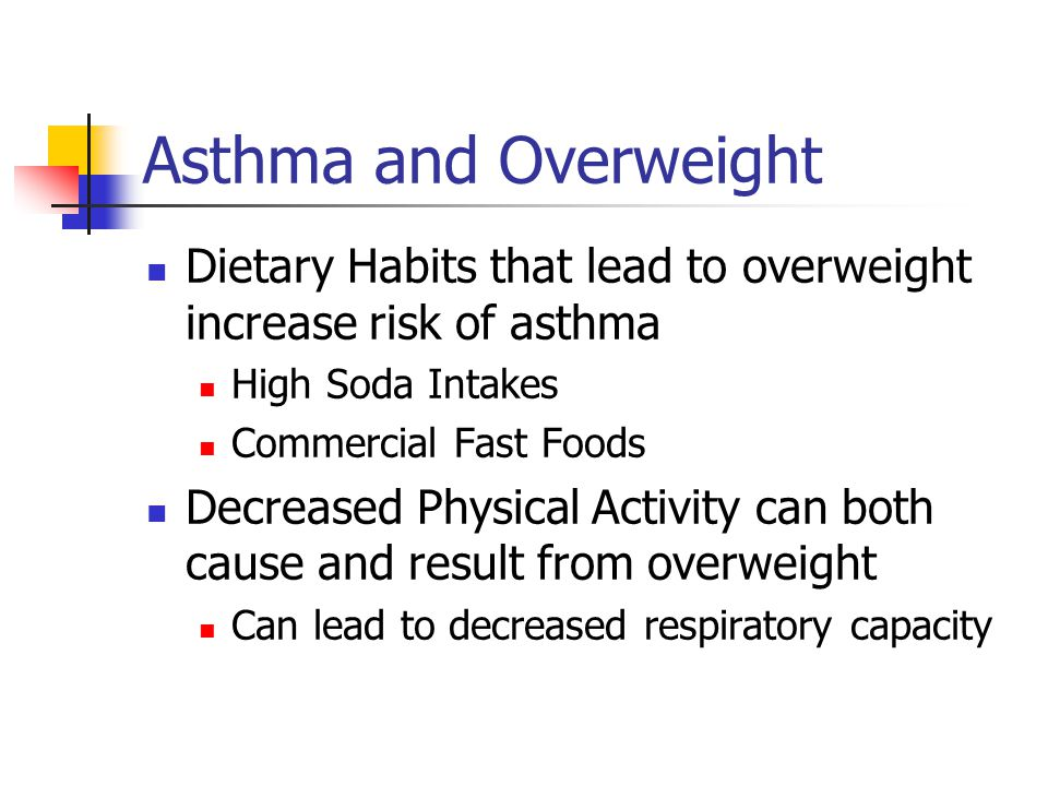Asthma and Overweight Dietary Habits that lead to overweight increase risk of asthma. High Soda Intakes.