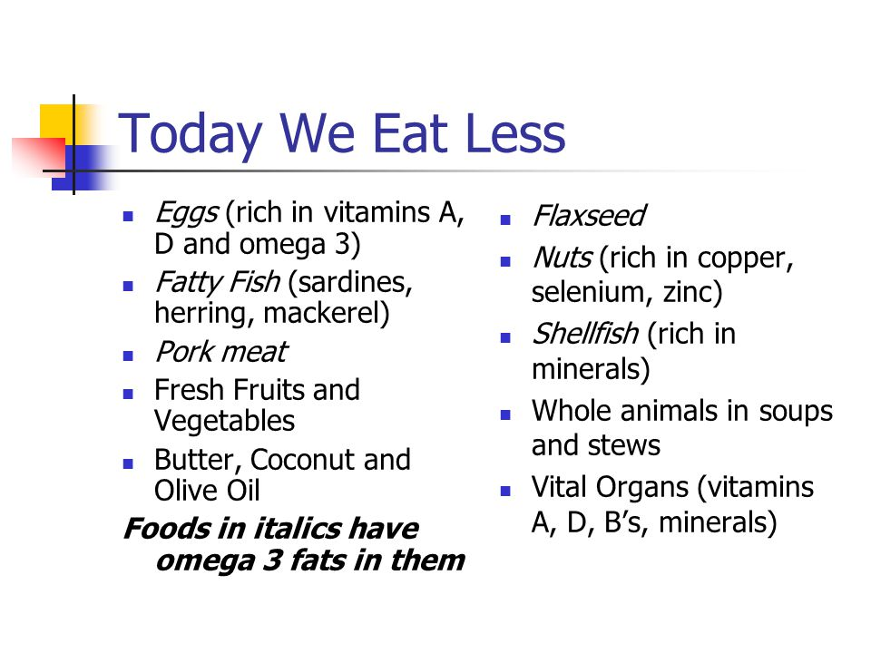 Today We Eat Less Eggs (rich in vitamins A, D and omega 3)