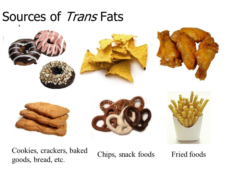 Sources of Trans Fats Cookies, crackers, baked goods, bread, etc.