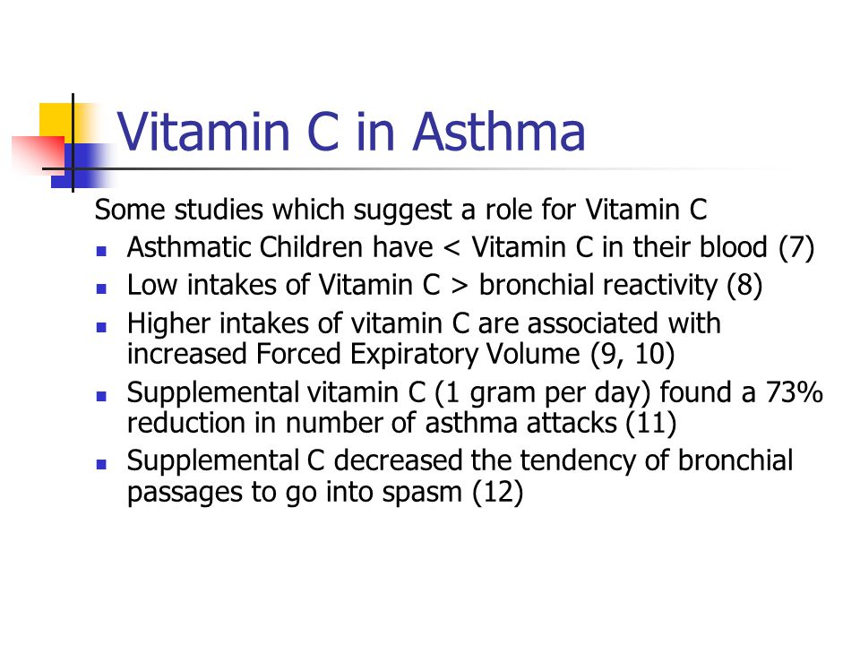 Vitamin C in Asthma Some studies which suggest a role for Vitamin C