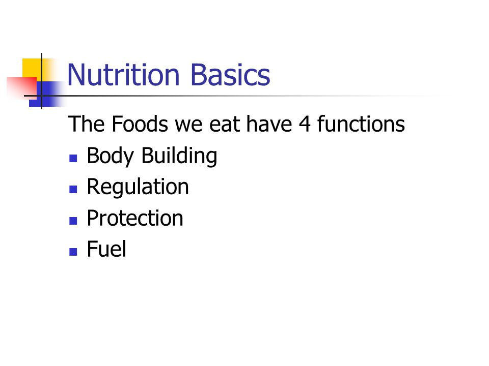Nutrition Basics The Foods we eat have 4 functions Body Building