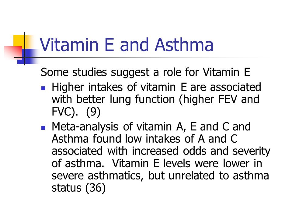Vitamin E and Asthma Some studies suggest a role for Vitamin E