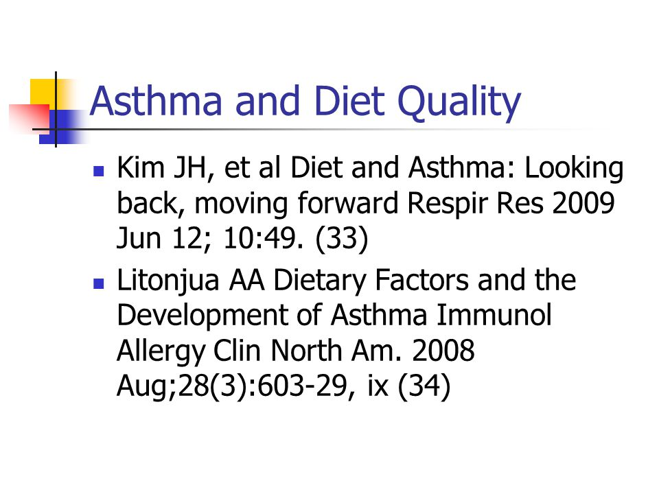 Asthma and Diet Quality