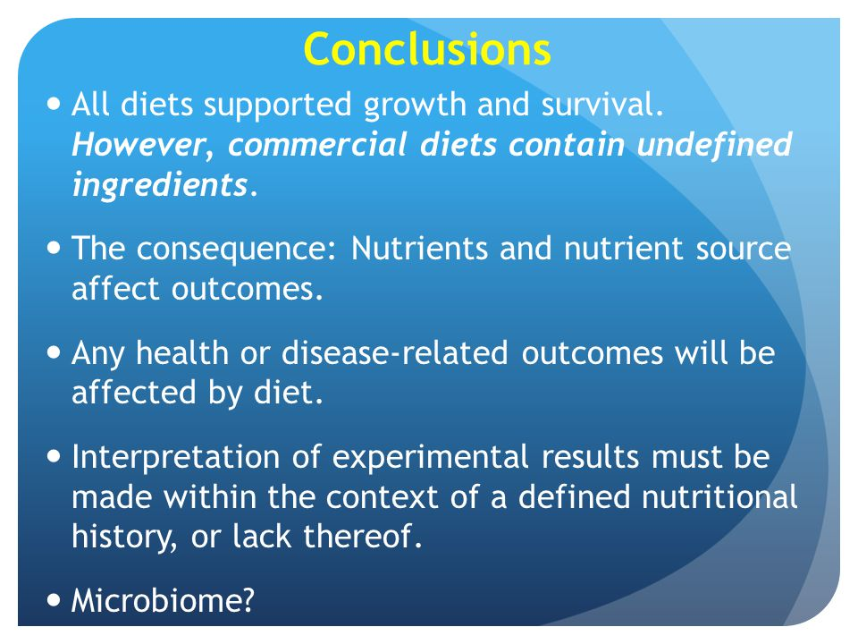 Conclusions All diets supported growth and survival. However, commercial diets contain undefined ingredients.