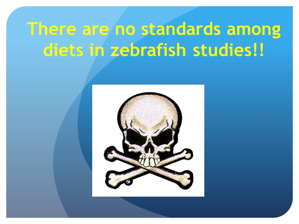 There are no standards among diets in zebrafish studies!!