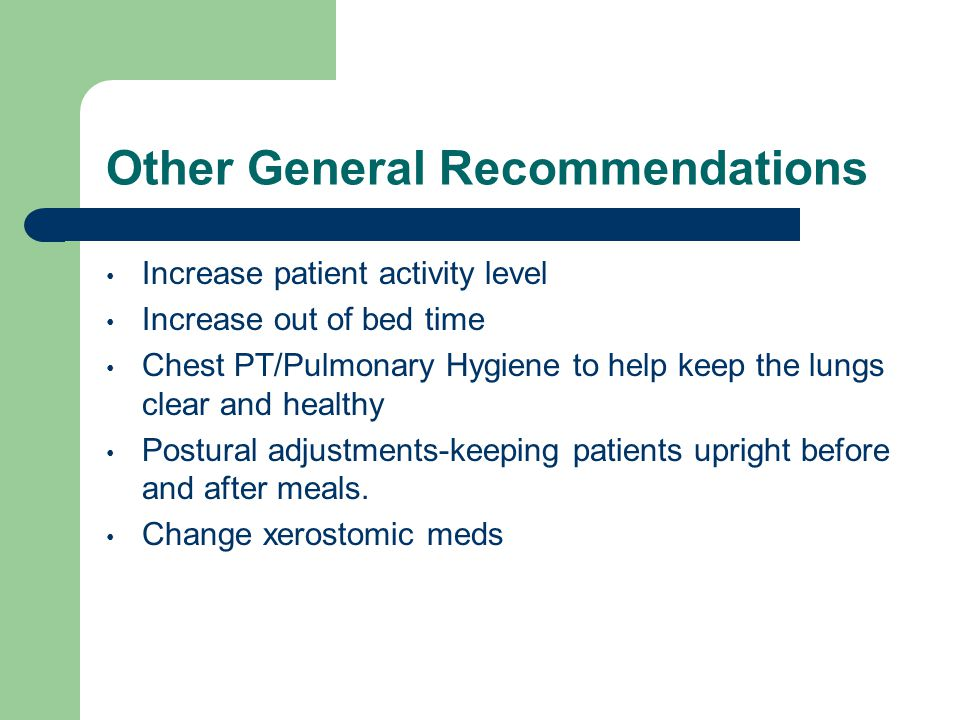Other General Recommendations