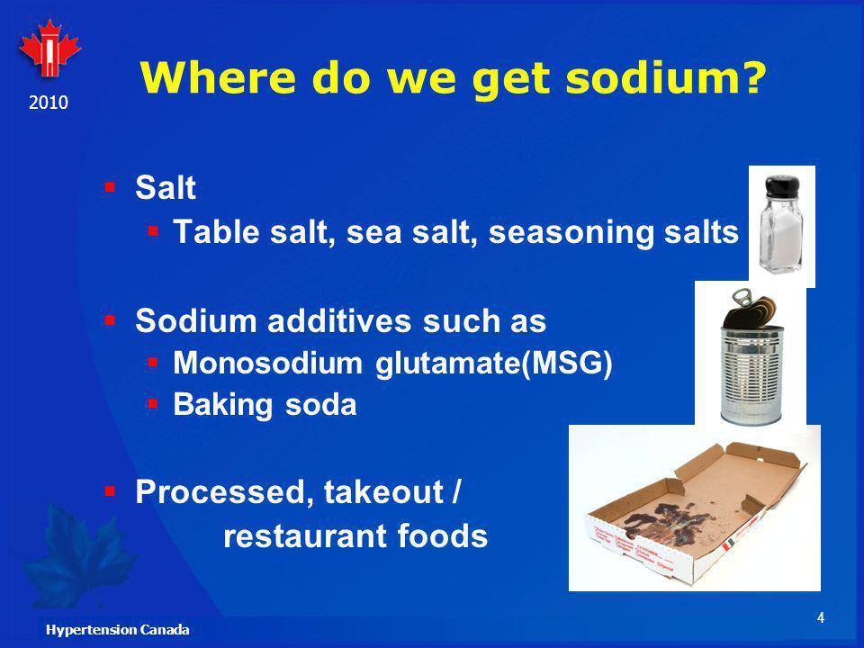 Where do we get sodium Salt Table salt, sea salt, seasoning salts