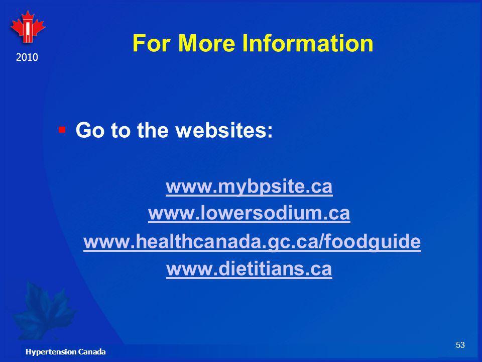 For More Information www.healthcanada.gc.ca/foodguide