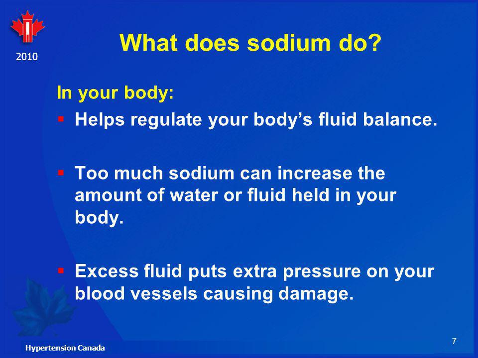 What does sodium do In your body: