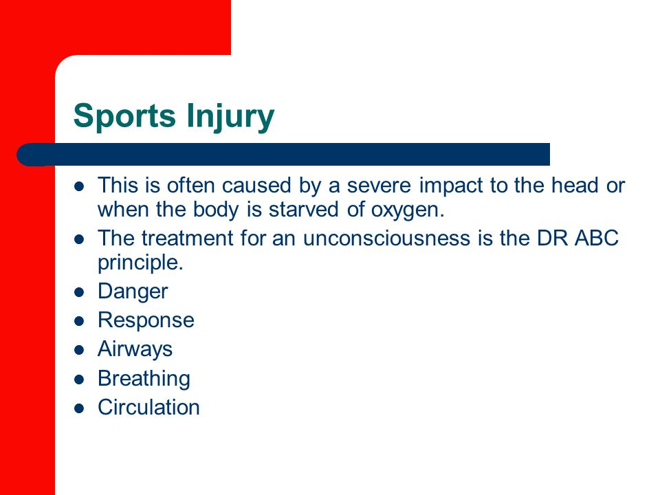 Sports Injury This is often caused by a severe impact to the head or when the body is starved of oxygen.